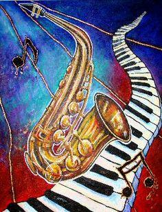 Blues, Saxophone & Keyboard Music Painting, Art Music, Modern Art, Contemporary Art, Tracing Art, Harley Davidson Images, Piano Art, Cuban Art, Jazz Art