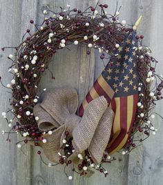 Americana Wreath, Patriotic Wreath, Burlap Bow. Rustic, Berries,Tea Stained Flag. DIY simple enough.