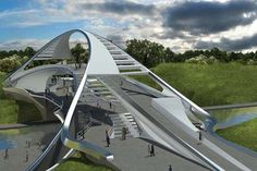 bridge designs - Developments in modern architecture have led to some forward-thinking bridge designs in every shape and size. From curved constructions to others i. Futuristic City, Futuristic Architecture, Amazing Architecture, Art And Architecture, Bridge Structure, Arch Bridge, Pedestrian Bridge, Urban Bike, Bridges Architecture