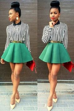 Consider pairing a black and white vertical striped button down blouse with a green skater skirt and you'll look like a total babe. Yellow leather pumps will instantly smarten up even the laziest of looks.  Shop this look for $67:  http://lookastic.com/women/looks/earrings-button-down-blouse-belt-skater-skirt-clutch-pumps/7708  — Gold Earrings  — Black and White Vertical Striped Button Down Blouse  — Gold Belt  — Green Skater Skirt  — Red Leather Clutch  — Yellow Leather Pumps