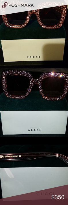 fc7bdaf736a69 Authentic Gucci Shades Pink over sized frames with rhinestones Model  GG0148S 003 Worn a few times