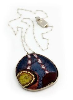 "Emily Watson. Necklace: Rendered no. 7, 2010. Enamel, copper, silver. 2.5"" x 2.5"" x .15"" pendant."