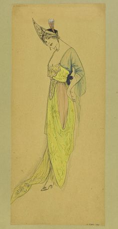 Summer 1913 Draped evening dress in pale blue and pink chiffon and a bright, almost fluorescent yellow silk with train. Lace kokoshnik headdress. | Jeanne Paquin | V&A Search the Collections