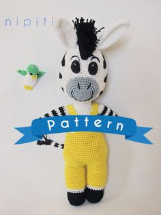 Zou Zebra toy Crochet Zebra Pattern PDF US Version by nipiti, $6.50