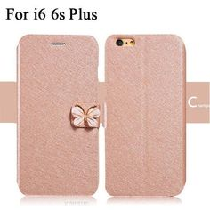 """Luxury Fashion Butterfly Built-in Card slot Silk Pattern 4.7"""" Stand Flip Leather Mobile Phone Case For iPhone 5 5S SE 6 6S Plus"""
