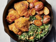 Extra-Crispy Chicken Thighs with Potatoes and Chard Healthy Chicken Thigh Recipes, Healthy Dinner Recipes, Chicken Recipes, Drink Recipes, 300 Calorie Dinner, Low Calorie Dinners, Grilled Chicken Thighs, Crispy Chicken, Boneless Chicken