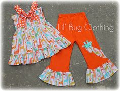 Custom Boutique Clothing Summer Spring Giraffe Orange Teal  Smocked Top and Pant on Etsy, $45.00