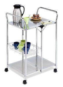 Honey-Can-Do CRT-01703 Chrome Folding Utility Table, Kitchen Cart