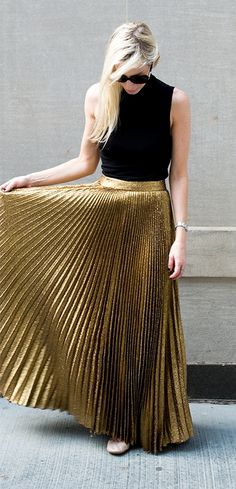 Pleated gold maxi skirt. … | Pinteres…