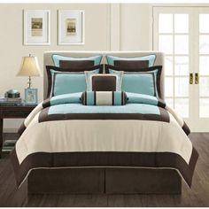 Fashion Street Gramercy 12-Piece Bed in a Bag Bedding Set, Blue