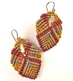 Earth Tone Macrame Earrings Red Gold and Sable with от neferknots