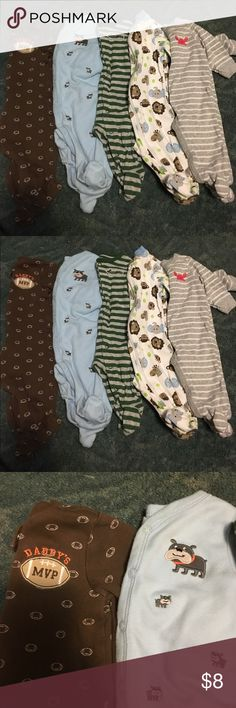 Carter's Sleepers size 3 months. Carter's Sleepers size 3 months. All carter's except the animal print one is Granimals. Smoke free and pet free home. Carter's Pajamas Pajama Sets