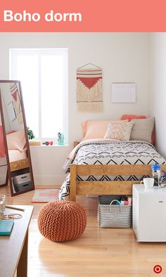 Styling your dorm room should be a reflection of you. Bedding is key—it needs to look and feel great, not to mention, it needs to be extra long. Dress up your bed with XLT comforters and sheet sets in bold colors and fun prints. Add decorative pillows and a supportive bed rest for comfort during long study sessions. Then, add texture to add warmth to your dorm with textile wall art and your favorite pics. Storage and seating? A must. A full-length mirror with built-in storage? You bet.