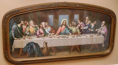 Vintage Jesus Last Supper Framed Print Picture Ornate Frame  J.A. Olson Chicago