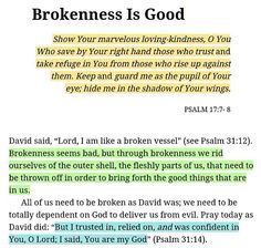 book of Psalms reminds us that goodness can be found in everything - including brokenness. Prayer Scriptures, Bible Verses Quotes, Faith Quotes, Word Of God, God Is, Gods Princess, Quotes About God, Spiritual Inspiration, Spiritual Quotes
