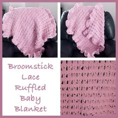 Free crochet pattern for a broomstick lace ruffled baby blanket. The baby blanket is crocheted using the broomstick lace stitch and has a ruffled edging. Baby Blanket Crochet, Crochet Baby, Free Crochet, Crochet Blankets, Crochet Crafts, Yarn Crafts, Crochet Projects, Broomstick Lace Crochet, Crochet Afgans