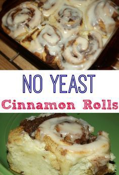 and Easy Homemade Cinnamon Rolls with No Yeast! Easy No Yeast Cinnamon Rolls that don't need to rise! Quick and Delicious! TRY today!Easy No Yeast Cinnamon Rolls that don't need to rise! Quick and Delicious! TRY today! Cinnamon Rolls Without Yeast, Cinnamon Bread, Easy Homemade Cinnamon Rolls, Vegan Cinnamon Rolls, Homemade Breads, Biscuit Cinnamon Rolls, Cinnamon Roll Icing, Cinnabon Recipe Without Yeast, Cinnamon Bun Recipe No Yeast