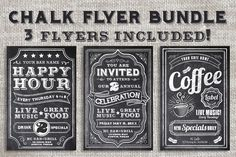 Chalk Flyer Bundle Pack by Domo Designs on Creative Market