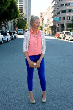 Effortless Look Check List:  >Neutral Cardi   >Accent piece (necklace)  > Neon Peach Top  > Cobald Blue Hot Pants  > Nude Studded Pumps