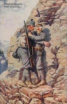 """WW1 German postcard, 1915. """"Schwierige Bergung eines Verwundeten"""" , © IMAGNO/Archiv Jontes World War One, Our World, First World, Military Art, Military History, Austria, Austro Hungarian, Wwi, Warfare"""