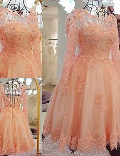 Cocktail Party Kleid - Perlen Pink Spitze / Tülle - A-Linie - Knie-Länge - Scoop