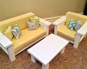 "18"" doll Furniture - American Girl Doll size 3 pc Living room set: Sofa, Chair, Coffee Table. Yellow Polka dot"
