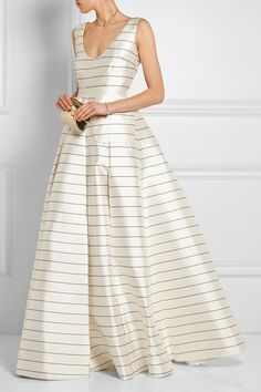 Emilia Wickstead Pearly striped silk-twill maxi skirt #EmiliaWickstead
