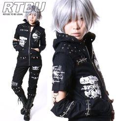 RTBU - Gothic Robot Punk Hooded Frayed Edge Thin Denim Jacket+Asymmetrical Arm Warmer