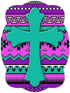 Cross On Purple Aztec Background Door Hanger Easy Home Decor, Cheap Home Decor, Aztec Background, Easter Monday, Cross Wreath, Christian Decor, Wood Cutouts, Shabby Chic Decor, Door Hangers