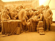 Pittsburgh Sandsational Sculpture depicting the signing of the declaration of US independance in 1776