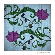 Purple flowers on wood