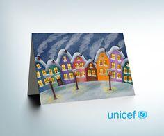 Silent winter evening - Unicef postcard design project  www.weva-design.hu