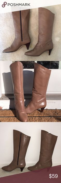 size 7.5 ainger brown leather boots size 7.5 ainger brown leather boots. 2.5 inch heel. excellent condition. all offers considered Etienne Aigner Shoes Heeled Boots