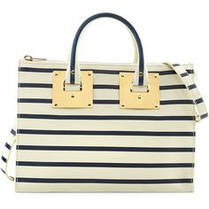 Sophie Hulme Mini Striped Zip-Top Bowling Bag, Cream/Navy (€540) ❤ liked on Polyvore featuring bags, handbags, satchel purses, handbag tote, leather satchel purse, leather tote purse and leather tote bags
