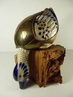 El Palomar Tonala Mexico brass/ceramic duck shelf sitter with ceramic feathers