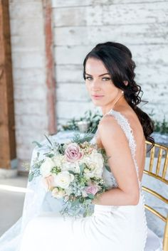 Two Looks – Soft & Pretty Styled Shoot - Rustic garden wedding. Bride in lace Pronovias gown and garden style wedding bouquet. Photo by L'Estelle Photography. Wedding Favors, Wedding Bouquets, Wedding Flowers, Wedding Decorations, Wedding Day, Wedding Dresses, Wedding Bride, Rustic Garden Wedding, Strictly Weddings