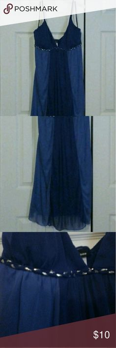Pretty Blue Flowey Dress Sz 3X Blue Dress with Silver Embroidery, Slight damage to one strap, runs a little small. Taboo Dresses