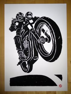 Bonneville brat style, 420mm x 594mm edition of 69. Giclee print of a Steel pen & indian ink illustration. 300 gram Museum fine art paper, signed and