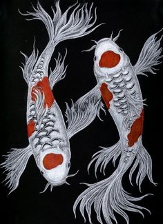 Sumi ink & Japanese watercolors on paper. Japanese Koi by Azrael-Nekhbet