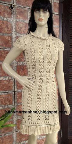 Marcinha crochê: vestidos de crochê SENCILLO EN BEIGE