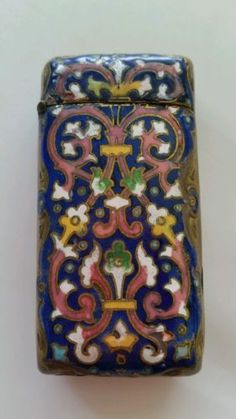 Antique Brass Enameled Match Safe Vesta Case