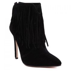 Sexy Suede and Fringe Design Women's Ankle Boots ($29) ❤ liked on Polyvore featuring shoes, boots, ankle booties, short boots, sexy booties, suede ankle boots, fringe bootie and suede bootie