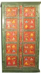 Vintage Cabinet Reclaimed Ganesh Carved Green Red Storage Armoire