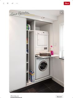 Clever Storage Ideas for Your Tiny Laundry Room. Wall Storage for Laundry Suppli… Clever Storage Ideas for Your Tiny Laundry Room. Wall Storage for Laundry [. Laundry Storage, Clever Storage, Cupboard Storage, Closet Storage, Stackable Washer And Dryer, Laundry Room Storage Shelves, Utility Rooms, Laundry, Storage