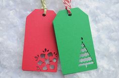 10 Holiday Gift Tags  Diecut Christmas Trees by sosweetpartyshop, $8.00