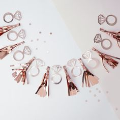 Hen Party Tassel Garland // Wall Decor // Banner // Rose Gold// Pink and Gold Party Decorations//Diamond rings//Team Bride//Wall Decor// Hen Party Decorations, Engagement Party Decorations, Bridal Shower Decorations, Hanging Decorations, Gold Decorations, Bachelorette Party Supplies, Bachelorette Party Decorations, Sparkle Bachelorette Party, Party Favors