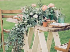 Sweetheart rustic table setting with greenery floral garland table decor | Ami Elisah Wedding Dress | Romantic Inspiration Shoot At Spains Hall Estate | Images By Charli Photography | http://www.rockmywedding.co.uk/ami-elisah-wedding-dresses-for-a-romantic-inspiration-shoot/