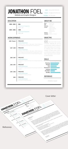 Free Resume Template: Professional One Page Resume | Creative ...
