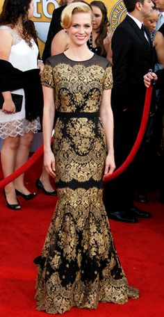 January Jones took on the SAG red carpet in a black  gold Carolina Herrera dress