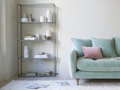 Looking for understated shelving that doesn't blow its own trumpet? This lofty lad just gets on with the job. Pleated Curtains, Curtains With Blinds, Modern Country Kitchens, Bookshelves In Bedroom, Toddler Girl Bedding Sets, Curtain Accessories, Bed Linen Design, Comfy Sofa, Guest Bed